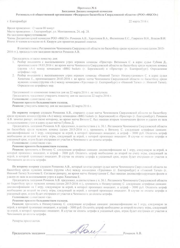 Протокол заседания дисципл комиссии, 22.03.2016